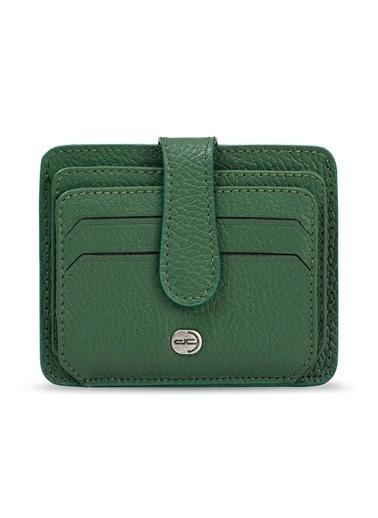Deri Company Deri Company (878Yy) Ki (Gerçek) Deri Kartlık Floater Desenli Erkek Cüzdan Yeşil
